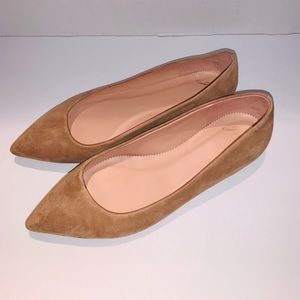 J.Crew Womens Pointed-Toe Flats In Suede